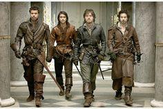 MUSKETEERS: Porthos (Howard Charles), D'Artagnan (Luke Pasqualino), Athos (Tom Burke), Aramis (Santiago Cabrera).  PA Photo/BBC/Photographer...