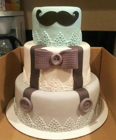This theme with a lil hat or glasses in place of the mustache. Little man theme baby shower cake. Bow tie, suspenders and mustache fondant decor. Used FMM textured lace cutters for base border. Link attached from where I got the design from. Man Shower, Shower Bebe, Baby Boy Shower, Baby Party, Baby Shower Parties, Baby Shower Themes, Shower Ideas, Fondant Man, Fondant Cakes