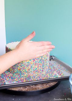 Sprinkle Cake Tutorial ~ A step-by-step tutorial on applying sprinkles to a fondant-covered cake, and how to make your own custom coloured sprinkles. Diy Birthday Cake, Birthday Cake Decorating, 23rd Birthday, Birthday Ideas, Birthday Parties, Smash Cake Girl, Girl Cakes, Sprinkle Wedding Cakes, Sprinkle Party
