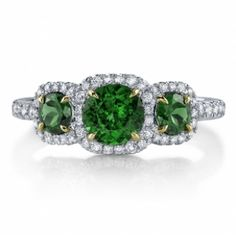 Omi Gems: Emerald and Diamond 3-Stone Ring #emeralds #jewelry