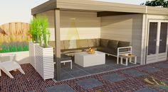 3D Tuinontwerp achtertuin met moderne platdak tuinhuis met overkapping. Ruime overdekte zithoek met loungebank.