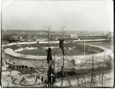 Fans are shown watching a Polo Grounds game from atop trees at Coogan's Bluff in this undated photo. Fans could watch for free from the bluff, which overlooked the stadium's final location on Street and Eighth Avenue in Manhattan. Baseball Park, Giants Baseball, Sports Baseball, Baseball Stuff, New York Giants, New York Yankees, New York Stadium, Polo Grounds, Sports Stadium