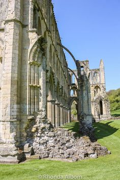 Flying buttresses on Rievaulx Abbey in the British Countryside