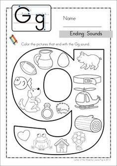 Alex Kleebauer- This is a fun activity to do with pre-k children. They are coloring which is something they want to do but they are also practicing phonology. They are not only practicing one phoneme but focusing on where they hear it in the word. Kindergarten Language Arts, Preschool Kindergarten, Preschool Learning, Kindergarten Worksheets, Speech Language Therapy, Speech And Language, Speech Pathology, Speech Therapy, Letter G Activities