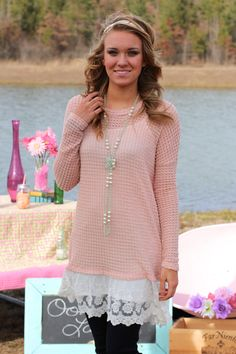 Daisy B. Spring Sweater Tunic {Peach} | The Fair Lady Boutique