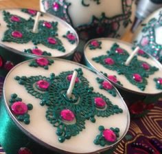 Tealight candles, great for weddings. Designed by mehndi by Farzana Candle Favors, Mason Jar Candles, Diy Candles, Tea Light Candles, Scented Candles, Tea Lights, Diwali Candles, Henna Candles, Mehndi Decor