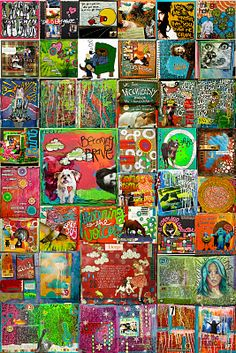 I love this idea to create a collage at the end of the year of your art projects from the year.