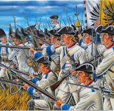 Austrian infantry in battle during the Seven Years War