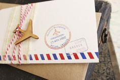 Vintage Air Mail Boarding Pass Christening Invitation