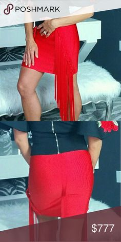 ❤NEW ARRIVAL❤ RED BODY-CON SKIRT Brand new  Boutique item  Sassy red fringed bodycon skirt. Fair with your favorite top and heels for a statement look. MODA ME COUTURE Skirts