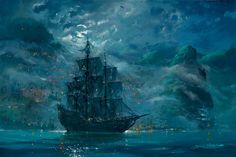 James Coleman - Moonlit Pearl - From Disney Pirates of the Caribbean - Disney Fine Art The Pirates, Pirates Of The Caribbean, Android Jones, Bateau Pirate, Disney Fine Art, Ship Paintings, Disney Paintings, Art Asiatique, Monsters