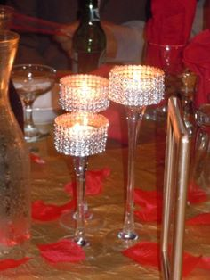 buy candleholders and add rhinestone band for a bling centerpiece