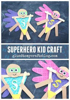 Popsicle Stick Superhero Kid Craft Idea w/Handprint Paper Cape Element