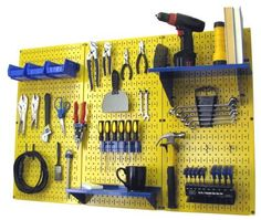 Pegboard Organizer Wall Control 4 ft. Metal Pegboard Standard Tool Storage Kit with Yellow Toolboard and Blue Accessories by Wall Control, http://www.amazon.com/dp/B00BXNK3BO/ref=cm_sw_r_pi_dp_TGXsrb0XKSSFH