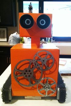 Robot Assembly Line / Egg-bot.  He holds a special place in my heart! - #Robot Birthday Party #robotparty