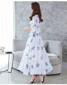 Fashion Chiffon V-Neck Flare Sleeve Print Maxi Casual Dresses - dressesstar Half Sleeve Dresses, Maxi Dress With Sleeves, Dress Skirt, Sheath Dress, Chiffon Maxi Dress, Korean Dress, Korean Outfits, Korean Clothes, Womens Swing Dress