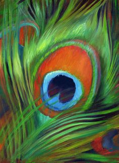 Peacock Feather by Nancy Tilles - Peacock Feather Painting . Lotus Kunst, Lotus Art, Peacock Painting, Peacock Art, Peacock Feathers, Dot Painting, Feather Drawing, Feather Art, Krishna Painting