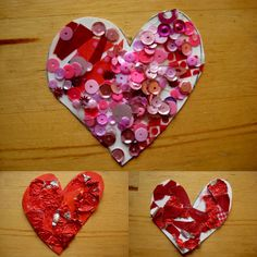 texture hearts  Tear up wraping paper, red foil wrappers etc. Draw a heart, spread glue thin and let toddlers sprinkle stuff on heart.  Let dry and cut out.
