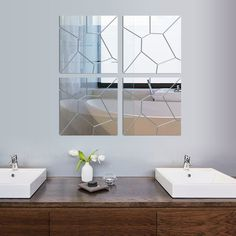 [Fundecor ] creative design 3d geometric acrylic mirrored decorative sticker wall art decals diy stickers on the mirror #Affiliate