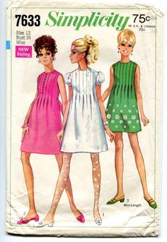 Vintage Mod 1960's Simplicity 7633 Tucked by MaddieModPatterns