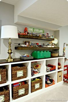 Pin was for the DIY floating lego storage shelves, but look @ those bottom shelves for possible basement re-do shelving