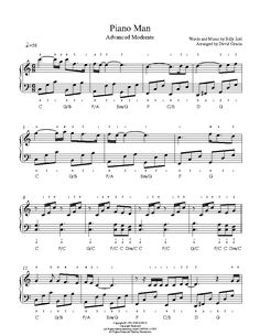 Piano Man by Billy Joel Piano Sheet Music | Advanced Level