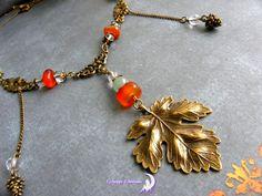 ~ Esprit d'automne ~ Collier bronze, grande feuille, cornaline, aventurine, cristal de roche