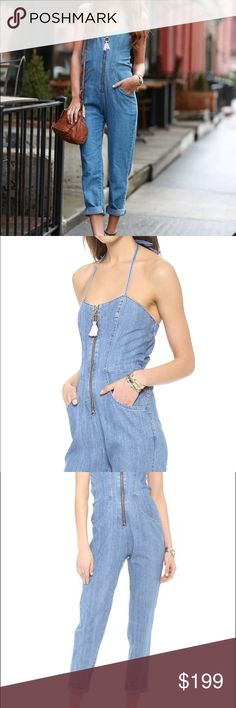 Wildfox Kiera Denim Zip Up Jumpsuit One Piece M This is a wildfox Kiera Jumpsuit. Size medium. Fits snug. A slouchy Wildfox jumpsuit, rendered in lightweight denim and finished with a feminine sweetheart neckline. Beaded string ties fasten behind the neck. Tassel pull at zip placket. Gathered elastic cinches the top hem and waist. Slant hip pockets. Mint condition.   Fabric: Lightweight denim. 100% cotton. Wash cold. Made in the USA.  MEASUREMENTS Inseam: 28in  Leg opening: 14in Wildfox…