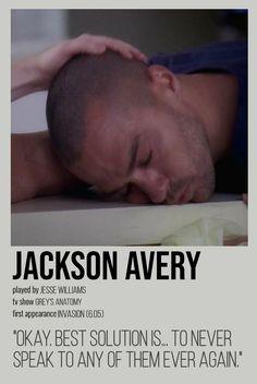 Greys Anatomy Episodes, Greys Anatomy Funny, Greys Anatomy Characters, Grey Anatomy Quotes, Jackson Avery, Grey Quotes, Jesse Williams, Grey Stuff, Gray Aesthetic