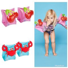 NEW ARRIVAL the cutest arm band floaties in crab or cherry design made by sunnylife - their pool float quality is second to none. $14.95 a pair suitable for ages 3-6 www.loumondoretro.com #sunnylife #crab #cherry #poolsaftey #kids #stuffforkids #floaties #poolfloat