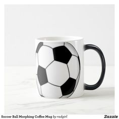 Shop Soccer Ball Morphing Coffee Mug created by radgirl. Personalized Coffee Mugs, Color Changing Coffee Mug, Custom Mugs, Soccer Ball, Create, Tableware, Soccer Inspiration, Products, Dinnerware