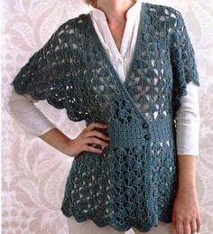"Spa Shawl Tunic from ""Simply Crochet"" by Doris Chan-sport weight T-shirt Au Crochet, Cardigan Au Crochet, Beau Crochet, Interweave Crochet, Pull Crochet, Crochet Vest Pattern, Mode Crochet, Simply Crochet, Crochet Coat"