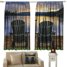 Tankcsard Beaded Curtain Seaside Decor,Two Wooden Chairs on Relaxing Lakeside at Sunset. Algonquin Provincial Park,Canada,Navy Green Bedroom Embroidery Curtain for Living Room