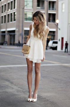 white dress, white heels