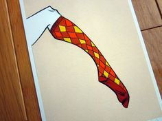 Cozy Argyle Socks Drawing Art Print 5 x 7 by LipsticKissPress