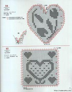 28 free patterns for harts motifs , granny square Filet Crochet, Crochet Motif, Crochet Doilies, Knit Crochet, Crochet Patterns, Crochet Hearts, Motifs Granny Square, Crochet Ornaments, Crochet Home Decor