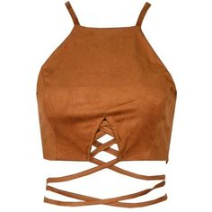 Brown Suede Lace Up Crop Top (130 BRL) ❤ liked on Polyvore featuring tops, shirts, crop top, blusas, crop, lace front shirt, shirt crop top, lace up front shirt, shirts & tops and suede shirt