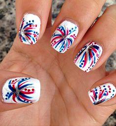 Nail Art Designs, Simple Nail Designs, Nails Design, Holiday Nail Designs, 4th Of July Nails, 4th Of July Fireworks, July 4th, Blue Nails, My Nails