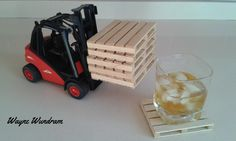 Pallet coasters made from European Beech with Forklift Holder.