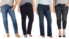 The Best jeans for apple shapes are mid rise with a boot cut, boyfriend style or straight leg.