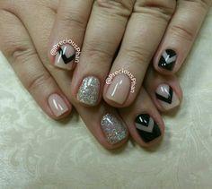 Nude and black nails. Negative space nails. Chevron nails. #PreciousPhanNails