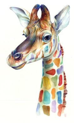 This painting uses the principal of design of variety because it uses a variety of colors to form the big picture of the giraffe.