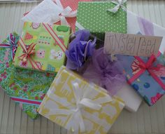 I LOVE WRAPPING PAPER!!!  Wrapped gifts are my favorite display...  These were for Tinsley's 2nd Birthday!