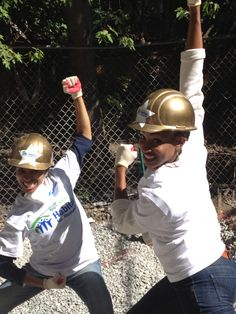 Allison Semmes and Chondra Profit having some fun at the Broadway Builds event in NYC #HabitatNYC Learn more about Habitat NYC at Habitatnyc.org