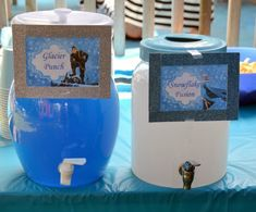 Frozen Party Theme Drink Ideas Here you'll see how I pulled together the perfect Frozen party for my son with these Disney Frozen Birthday Party Ideas! Birthday Party Drinks, Elsa Birthday Party, 6th Birthday Parties, Birthday Ideas, 4th Birthday, Olaf Party, Geek Birthday, Birthday Cakes, Frozen Themed Birthday Party