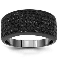10K  Gold  Black  Rhodium  Mens  Black  Diamond  Wedding  Band  1.50  Ctw