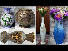 12 ideas sobre cómo hacer jarrones de bricolaje - YouTube Paper Machine, Decoupage, Vase Crafts, How To Make Diy, Plastic Bottles, Diy Gifts, Beautiful Homes, Origami, Recycling