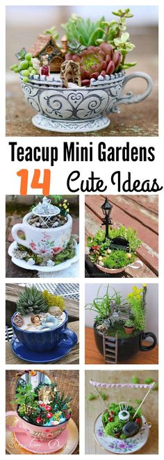 14 Cute Teacup Mini Gardens Ideas #mini_garden_landscape