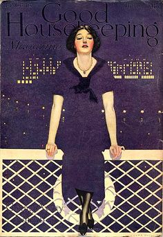 Woman sit on rail. Front view. - blends with background. Good Housekeeping - 1913 / Coles Phillips?