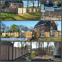 Bij een prachtige nieuwe vrijstaande woning een solide schutting - erfafscheiding - afscheiding , met als basis de beton palen en onderplaten , tuinschermen van geimpregneerd hout, gaaselementen en piramide afdeklatten geplaatst. Geplaatst door en verkrijgbaar bij #tuinmani @Tuinmani www.tuinmani.nl